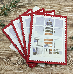 West Quoddy Lighthouse Cozy Winter Wishes Card - Set of 4